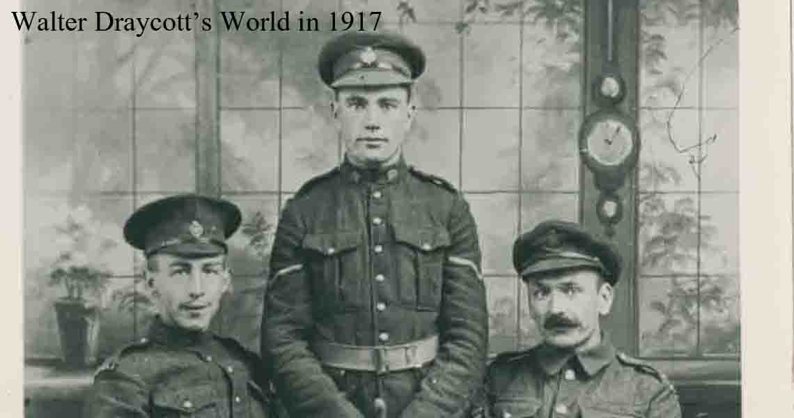Draycott, right, with two soldiers 1917