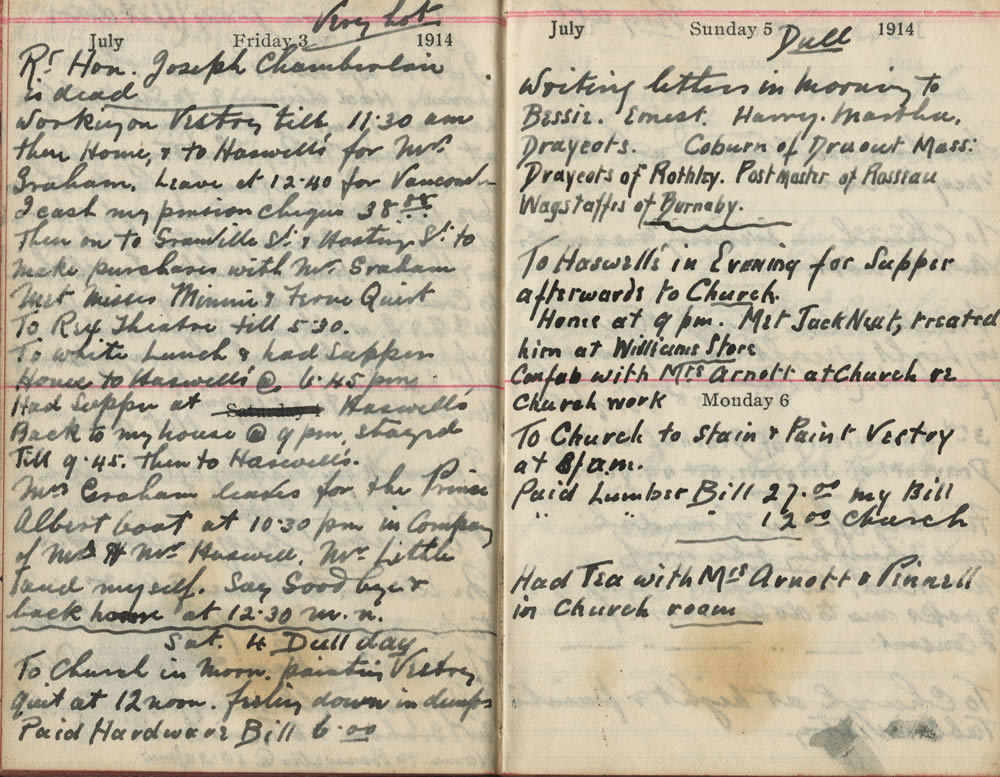 Original Diary Entries from July 3rd to 6th, 1914